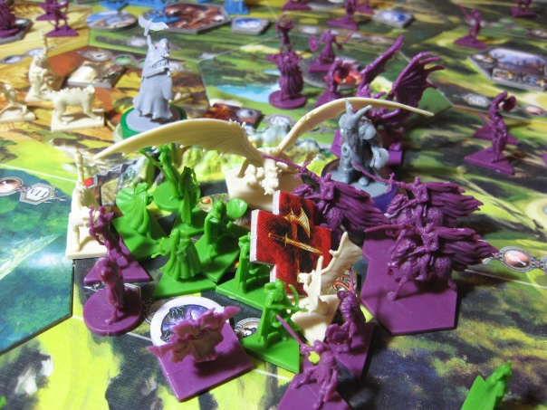 Near the end of the game it became genuinely hard to fit battling armies on hexes. We tried to pretty it up for pics, but sometimes it was just piles of troops.