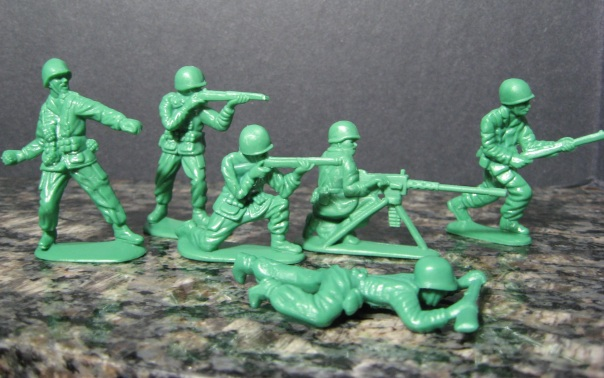Yes, these are my army men. What you may not have guessed is that they were right next to my computer, ready for deployment since Christmas.