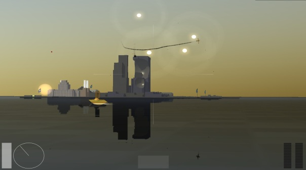 As you can see, you can batter the structures with your weapons. This is how you win; but it turns out the tall towers in the middle don't do anything but block angles of fire onto other structures. I was only informed of this after making four or five missile runs on the right tower.