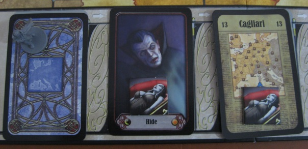 "It actually turns out that encounter tiles on the Hide card can't be ""matured""—that is to say, the vampire won't help Dracula win. But we didn't know this at the time. The rulebook is a bit poop."