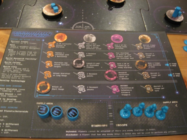 The tracks are all useful in their own way. Orange helps your starships be more powerful, gray helps with movement, purple gives more VPs for ramming or being rammed, and brown eventually lets you recruit troops to unoccupied worlds.