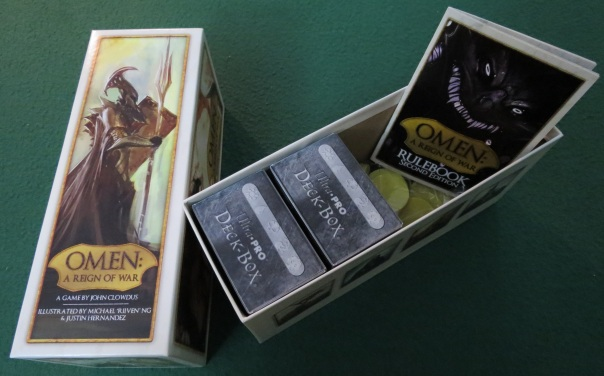 These particular deckboxes are Magic: The Gathering deckboxes, which I prefer because they come with a nifty divider that you can use to, uh, divide your cards more easily.