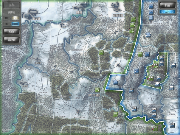 The game system is turn-based, with the day gradually progressing in random increments. So you might march a couple infantry divisions down the highway, then an hour later the enemy launches an attack across a bridge, then thirty minutes pass and you get to go again. There's rarely enough time to give orders to everyone, and no day necessarily contains the same number of turns.