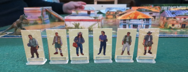 Here's the goofy part: There are 12 survivors, but only 6 variants. So there are 2 of each survivor type. Which makes no sense, given that they're just cardboard cutouts. So the game company goes to all the effort of making all these 3D buildings but they can't have 12 tiny images instead of 6?