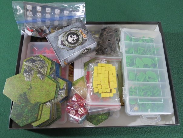 The Board Game Box Review gives this one star for being too small to comfortably and safely store all the components, especially once I put all the figures in Plano boxes.