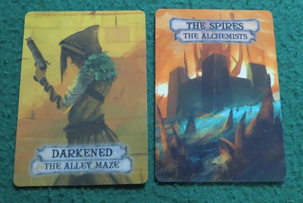 Four cards and four districts, and the only ones with immediately recognizable aligning color schemes are the Ghoul and The Boneyard.