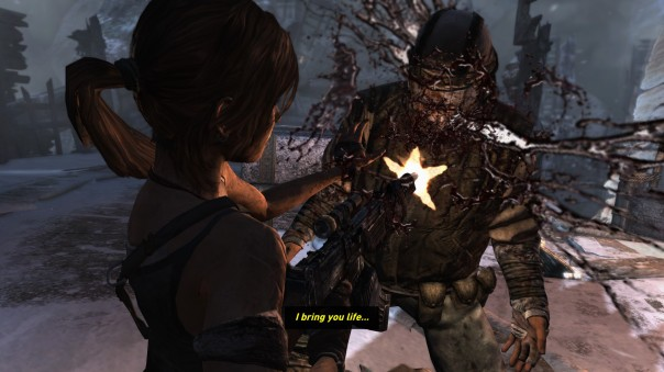 "Note that Lara isn't the one saying ""I bring you life."" That's like a cultist chant in the background. But it looks *awesome* if she's saying it."