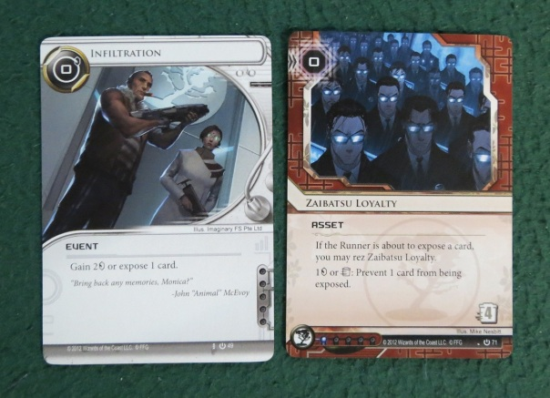 """I love how the art on the """"Infiltration"""" card shows two of the characters from the game Infiltration."""