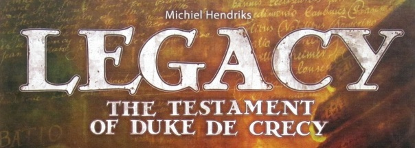 "To me, the designer's name's placement makes this title read something like ""Michiel Hendriks' Legacy is the Testament of Duke de Crecy."" And I don't know how to begin making sense of that."