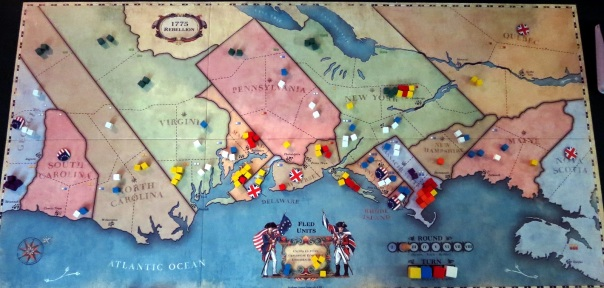 The end of two rounds: Americans holding the South and much of New England, and the English in Canada, Delaware, and New Jersey.