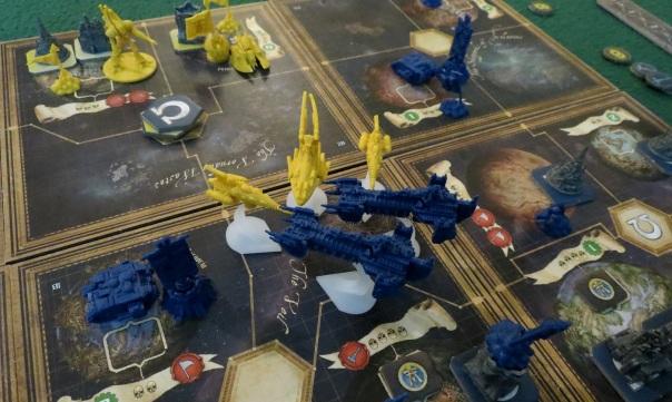 Or: Protoss carriers and scouts assault Terran battlecruisers.