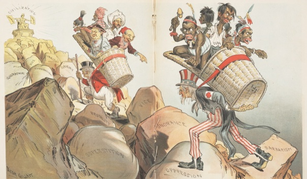 """editorial cartoon by Victor Gillam satirizing the """"white man's burden"""" — racistly"""
