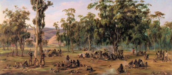 """An Aboriginal Encampment, near the Adelaide Foothills,"" by Alexander Schramm"